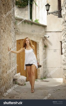 Woman Walking Barefoot Street Outdoor Stock