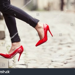 Red Heel Chair Portable Directors Woman Wearing Black Leather Pants And High Shoes