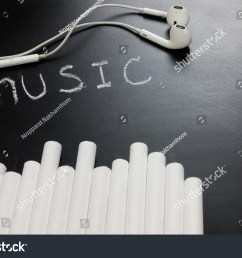 word music with chalk and ear pod on black board for music teaching concept [ 1500 x 1101 Pixel ]
