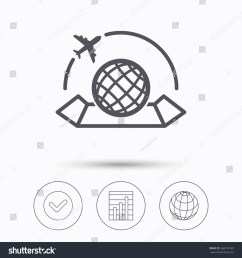 world map icon globe with airplane sign plane travel symbol check tick graph chart and internet globe linear icons on white background illustration [ 1500 x 1600 Pixel ]