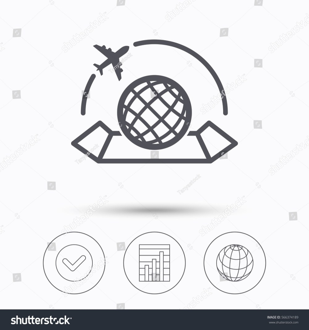 medium resolution of world map icon globe with airplane sign plane travel symbol check tick graph chart and internet globe linear icons on white background illustration