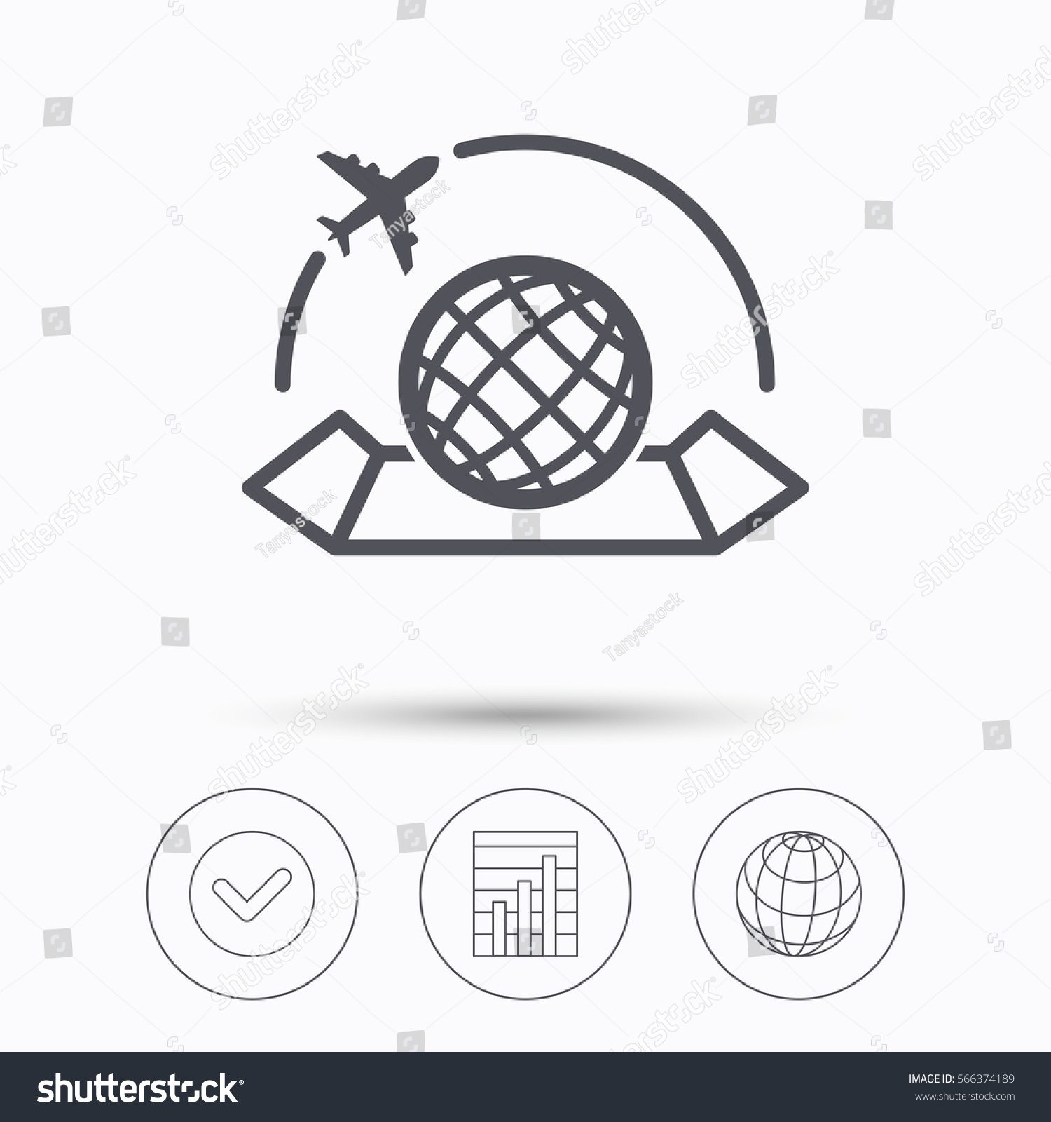 hight resolution of world map icon globe with airplane sign plane travel symbol check tick graph chart and internet globe linear icons on white background illustration