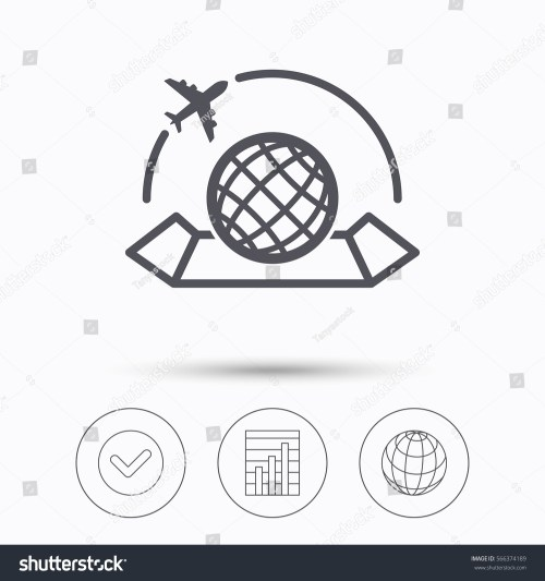 small resolution of world map icon globe with airplane sign plane travel symbol check tick graph chart and internet globe linear icons on white background illustration