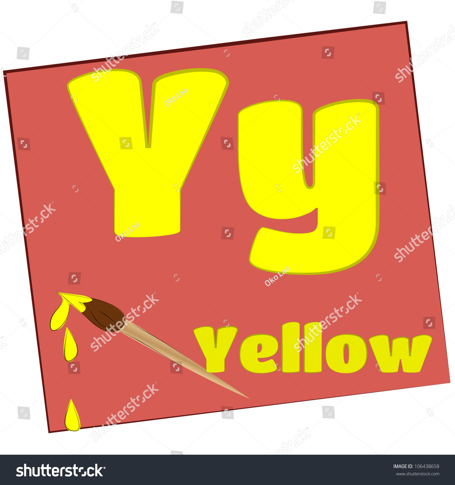 Y Yellow Colorful Alphabet Letters With Words Starting
