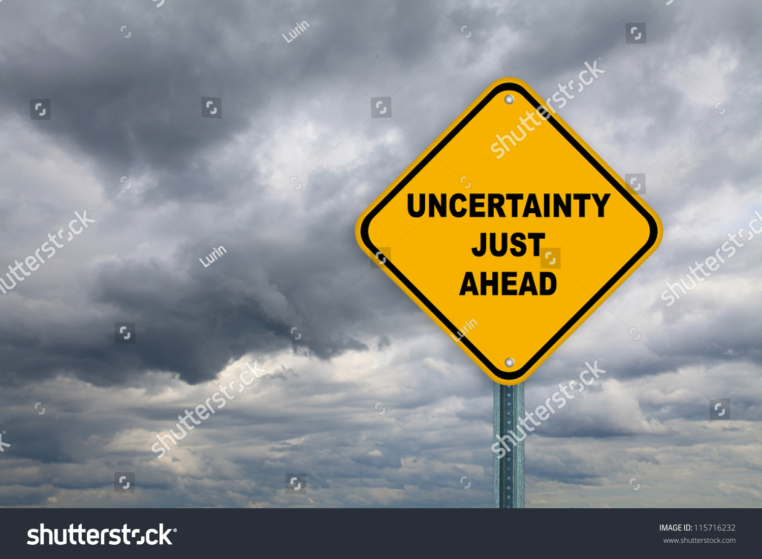 Yellow Road Sign Uncertainty Just Ahead Stock Photo 115716232 : Shutterstock