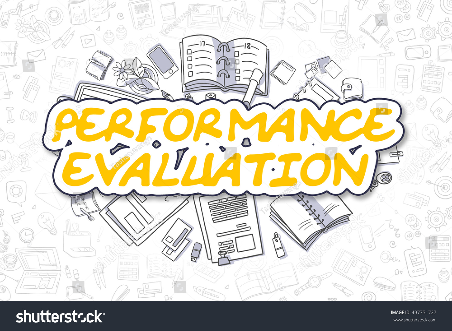 Yellow Text - Performance Evaluation. Business Concept With Doodle Icons. Performance  Evaluation - Hand