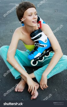 Young Barefoot Girl Sitting Asphalt Stock