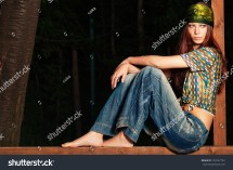 Young Barefoot Woman In Hippie Style Clothes Outdoor Shot