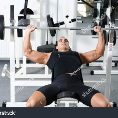 Gym Chest Chair Peacock Hanging Young Bodybuilder Training Barbell Stock Photo