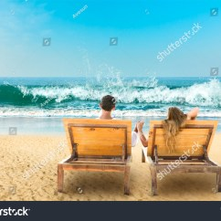 Lay Down Beach Chairs Wheelchair Jump Fail Young Couple Relaxing Lying On Stock Photo 211256083