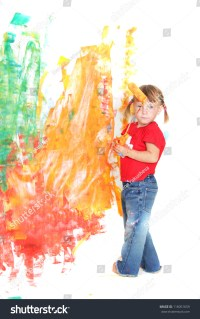 Young Girl Painting Over White Wall Stock Photo 116051659 ...
