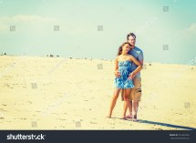 Young Love Couple Sandy Beach Stock 216334762