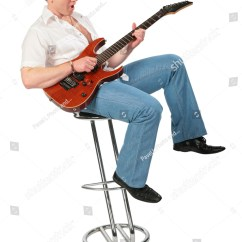 Best Chair For Guitar Playing Antique Bistro Table And Chairs Young Man Play On Stock Photo 17638552