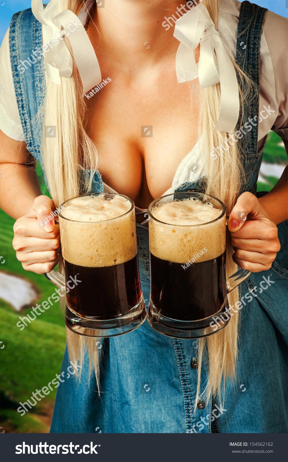 Young Sexy Oktoberfest Woman Wearing Dirndl Stock Photo