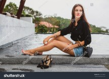 Young Stylish Hipster Woman Sitting Pool Stock