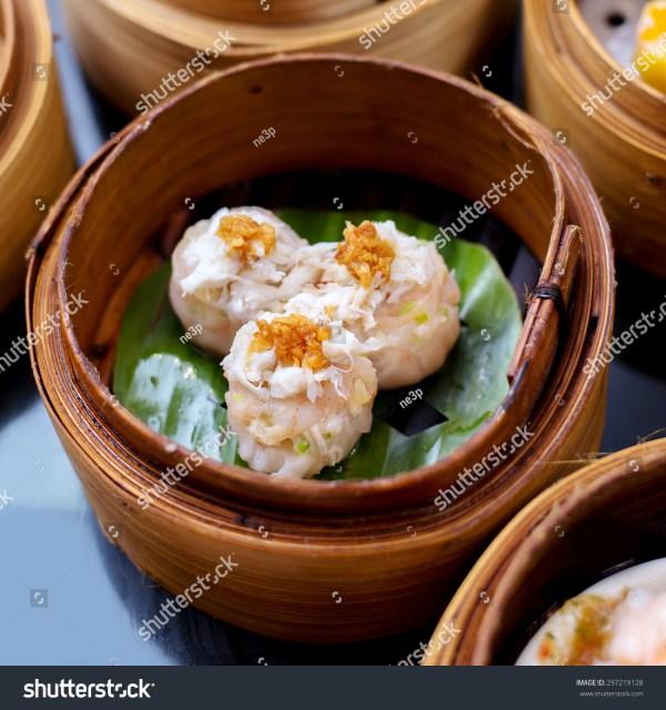 Yumcha Steamed Dumpling Crab Shumai Dim Sum In Bamboo