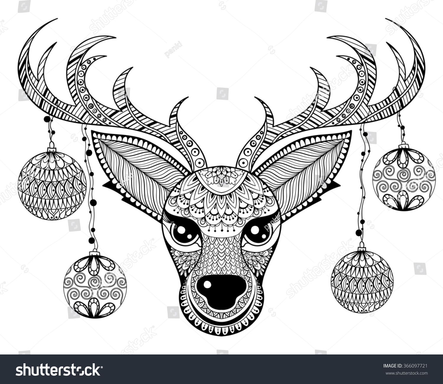Zentangle Reindeer Face Chriatmas Decoration Balls Stock