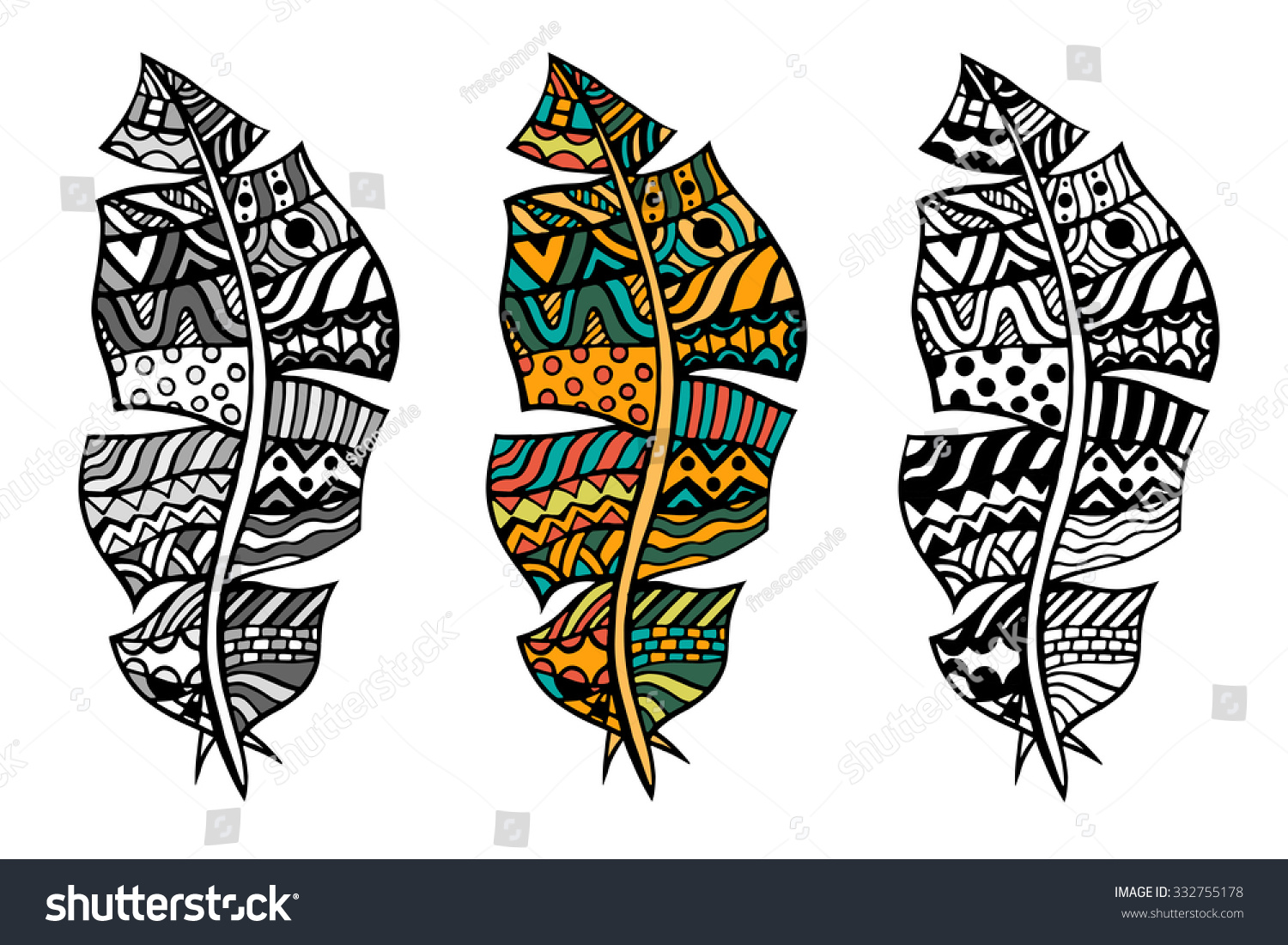 Zentangle Stylized Tribal Color And Monochrome Feathers