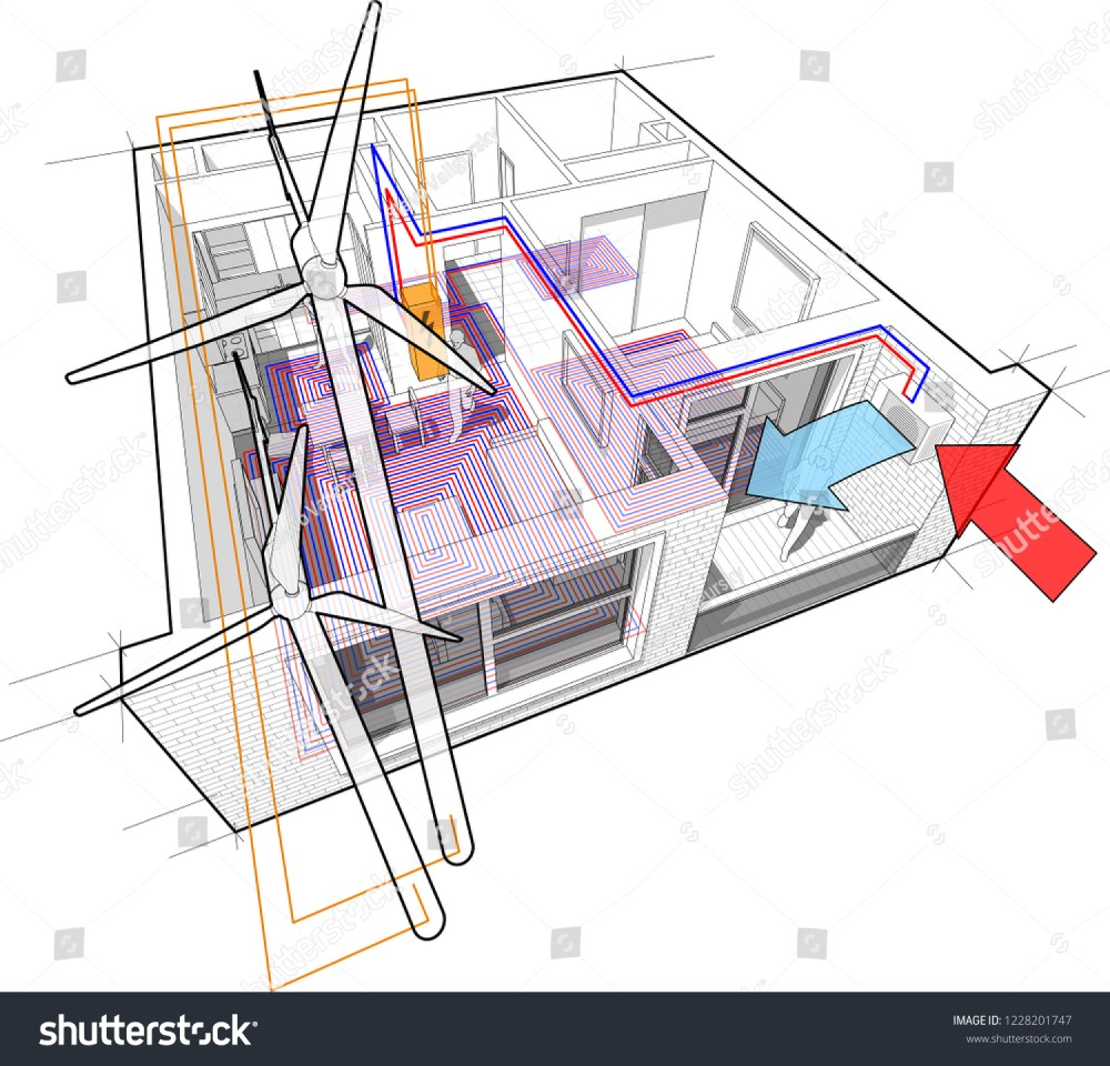 medium resolution of 3d illustration of apartment completely furnished with hot water floor heating and air source heat pump