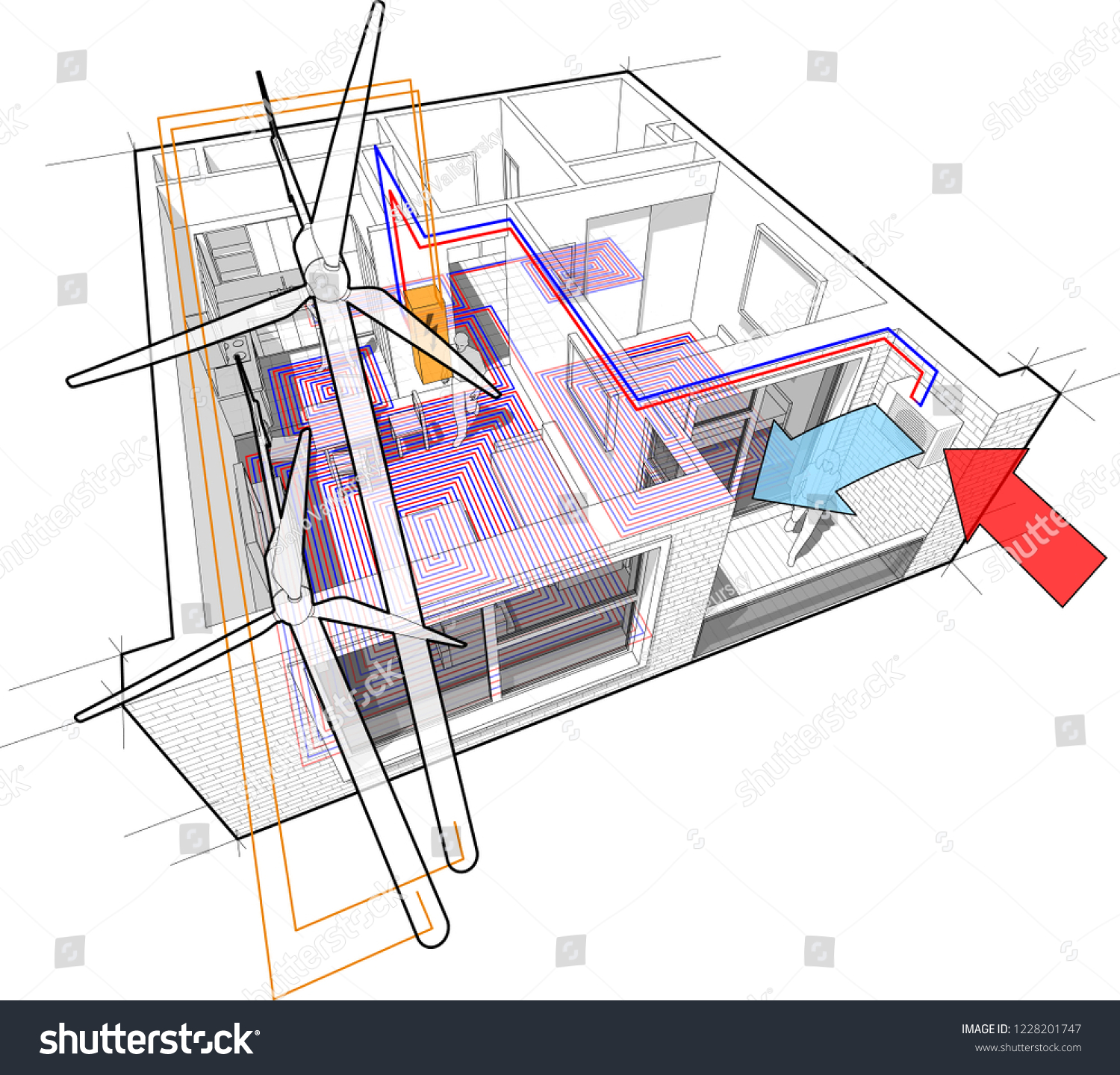 hight resolution of 3d illustration of apartment completely furnished with hot water floor heating and air source heat pump
