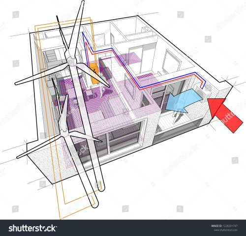 small resolution of 3d illustration of apartment completely furnished with hot water floor heating and air source heat pump