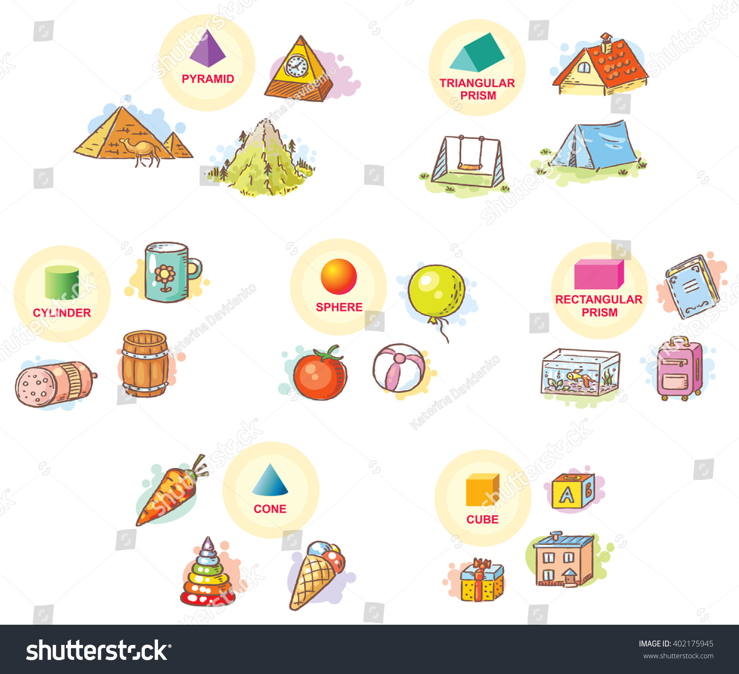 3d Shapes Example Objects Everyday Life Stock Vector