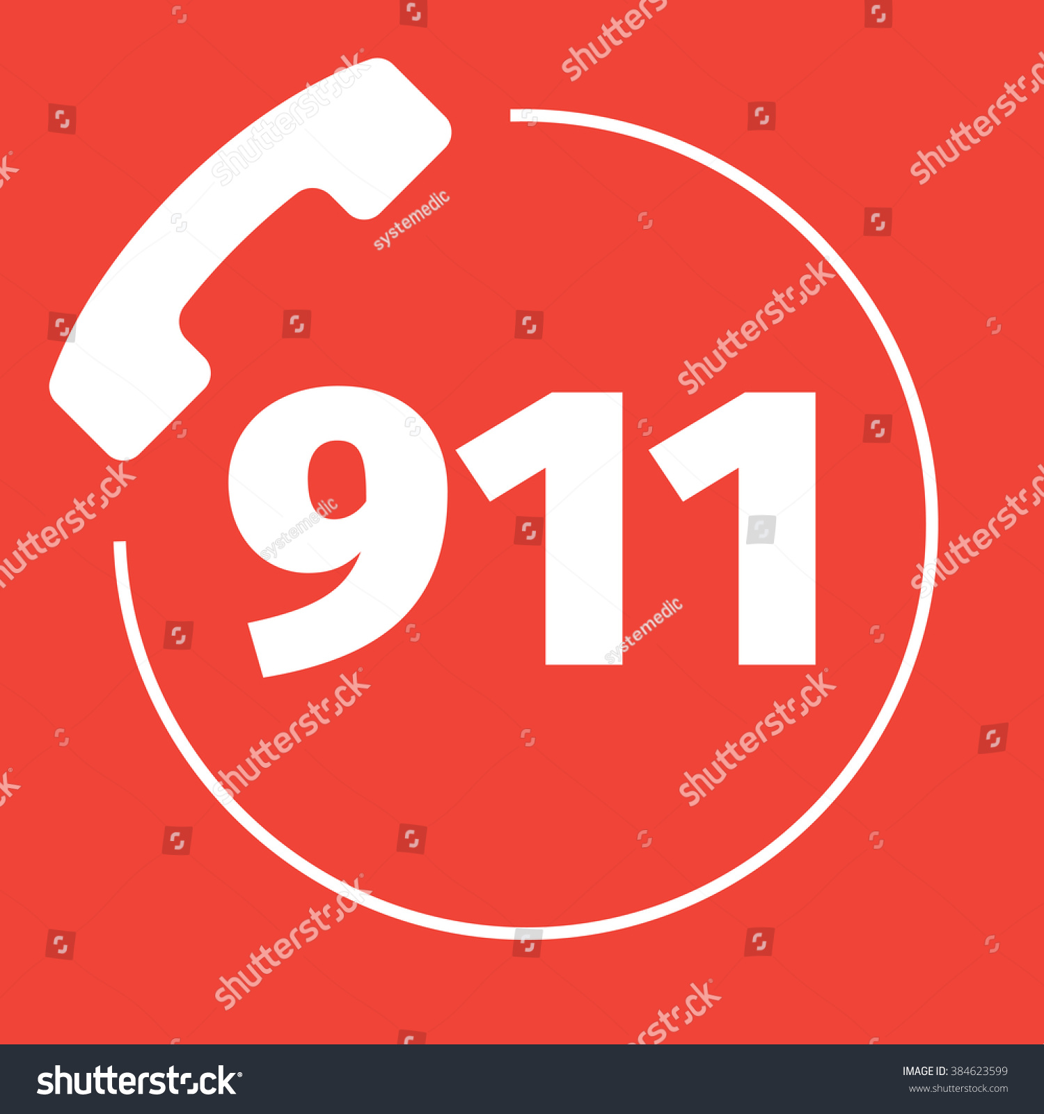 911 Emergency Call Number Stock Vector