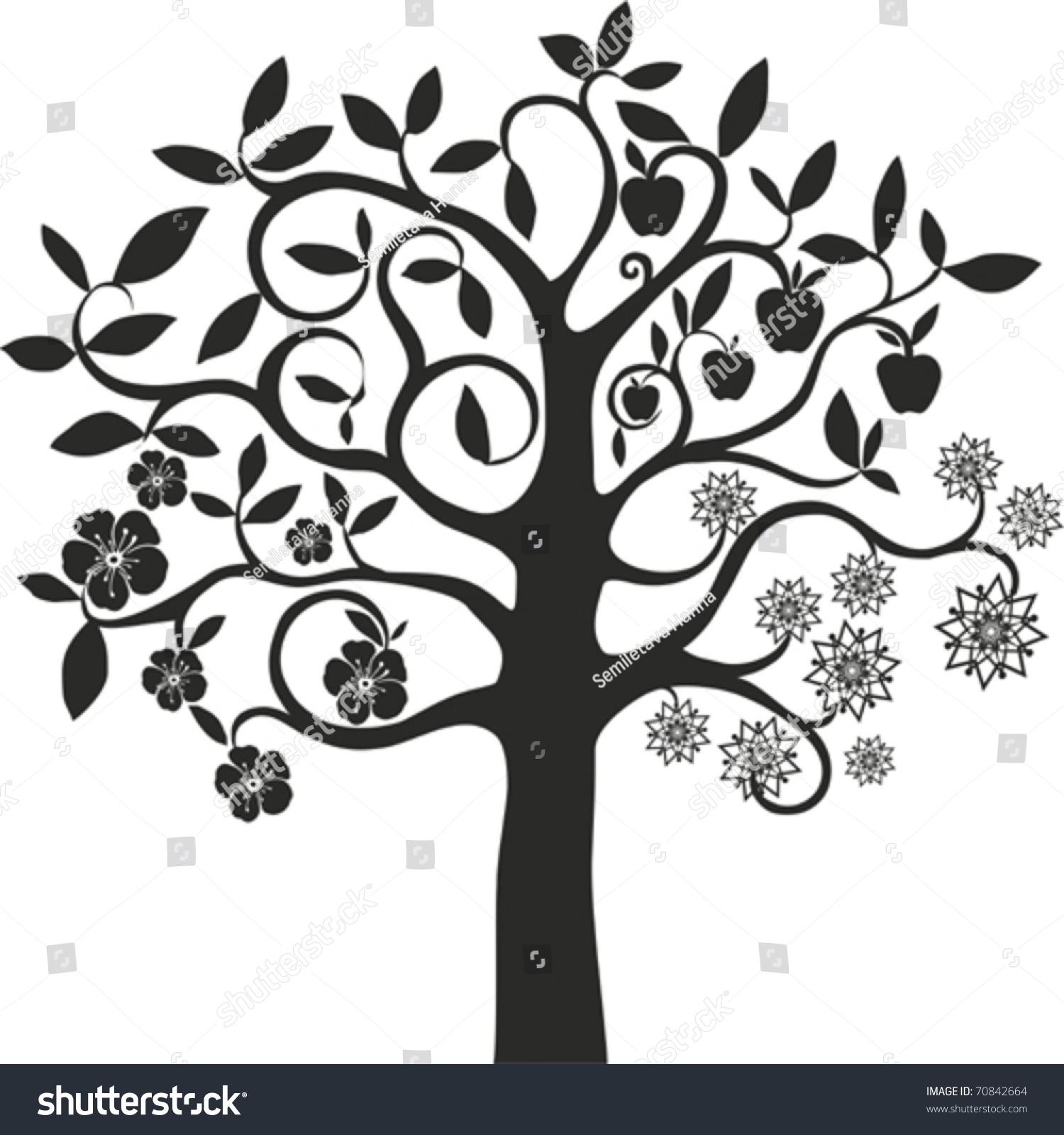 Four Season Tree Vector Stock Vector