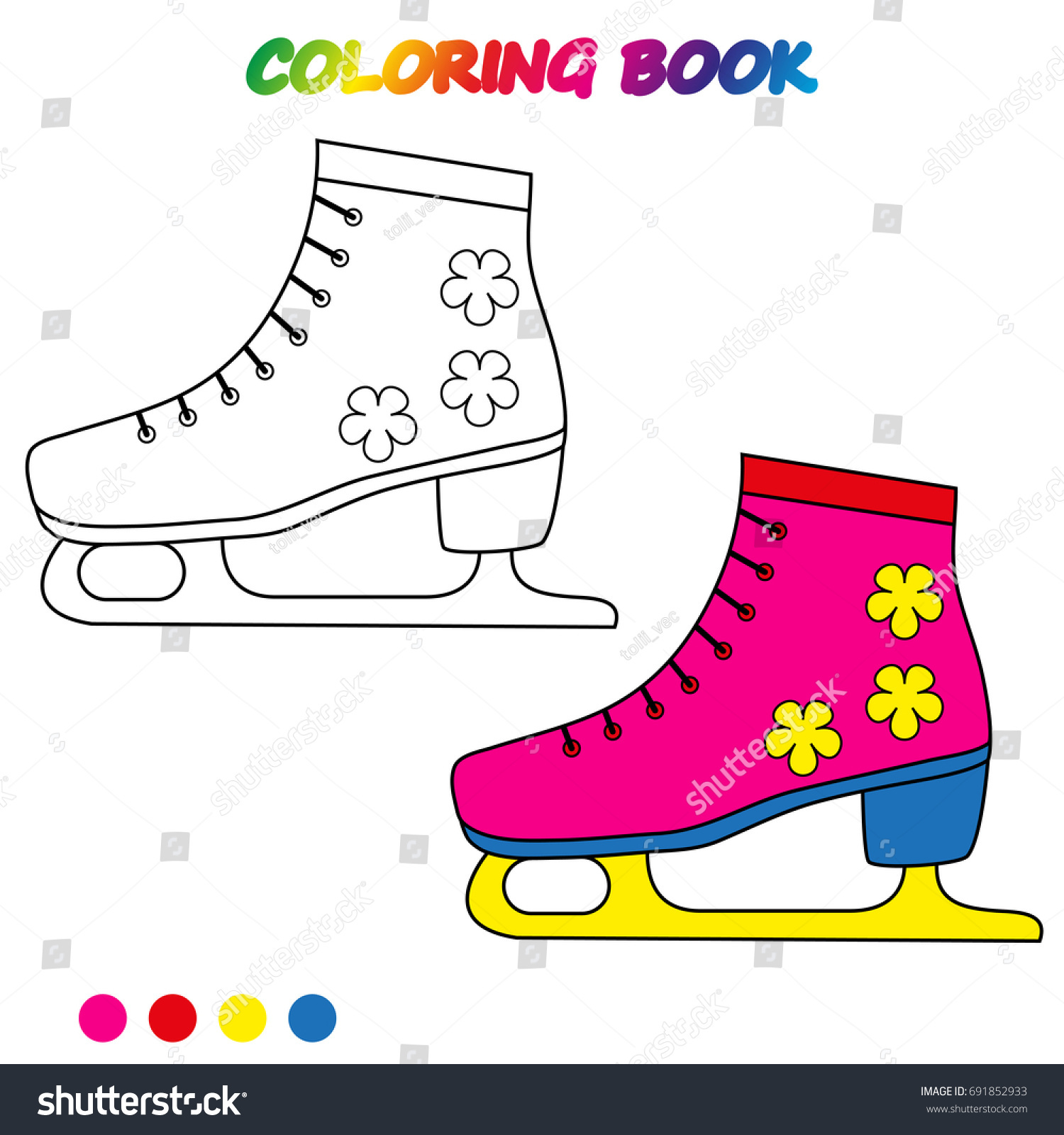 Ice Skates Coloring Page Worksheet Game Stock Vector