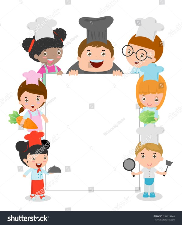 Kids Holding Cooking Surrounding Blank Board Stock Vector