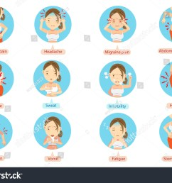 menstruation pain or stomach ache cartoon character of the women in the circle vector illustration [ 1500 x 1158 Pixel ]