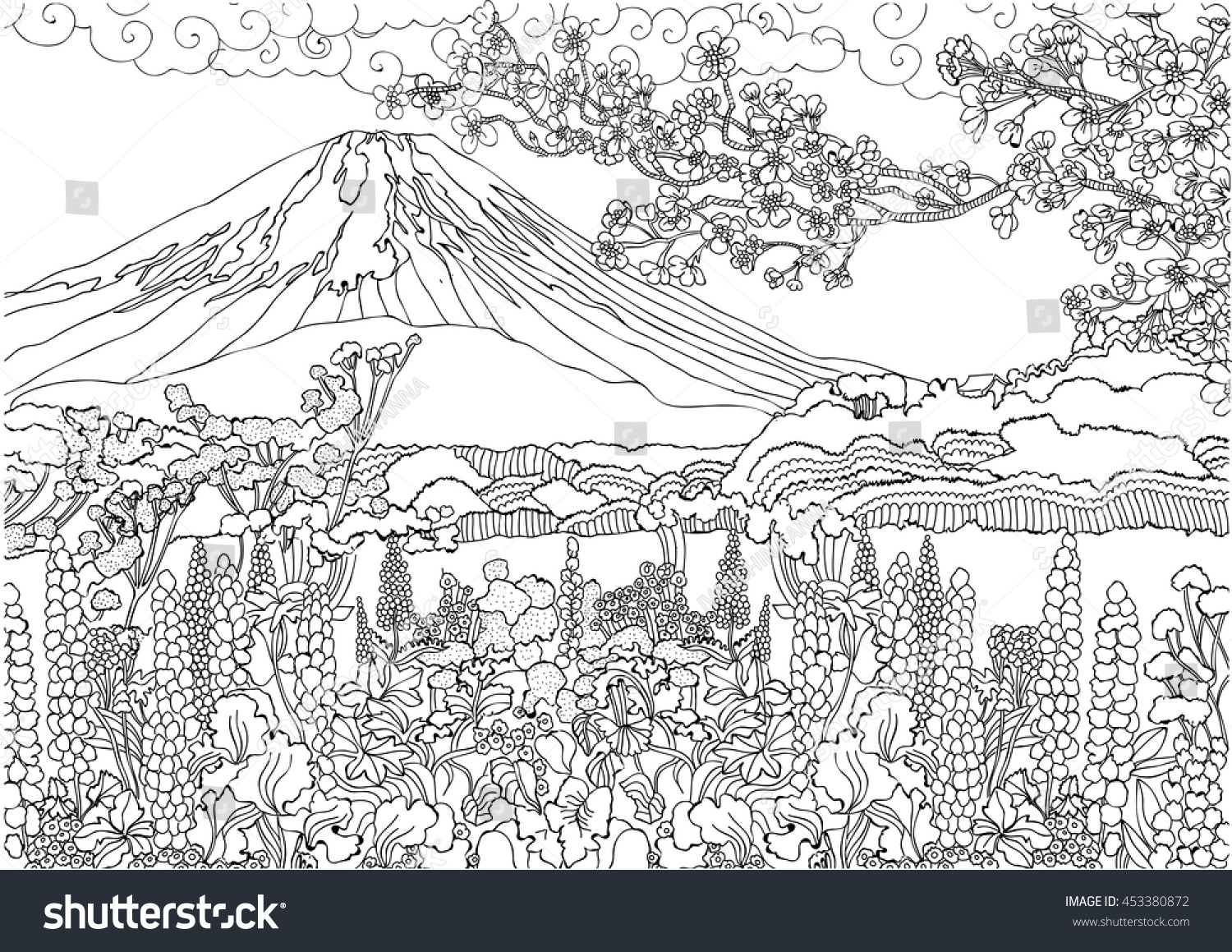 Mountain Japan Fujiyama Landscape Coloring Pages Stock Vector