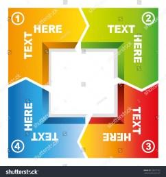 4 process of square loop diagram business flow presentation [ 1500 x 1600 Pixel ]