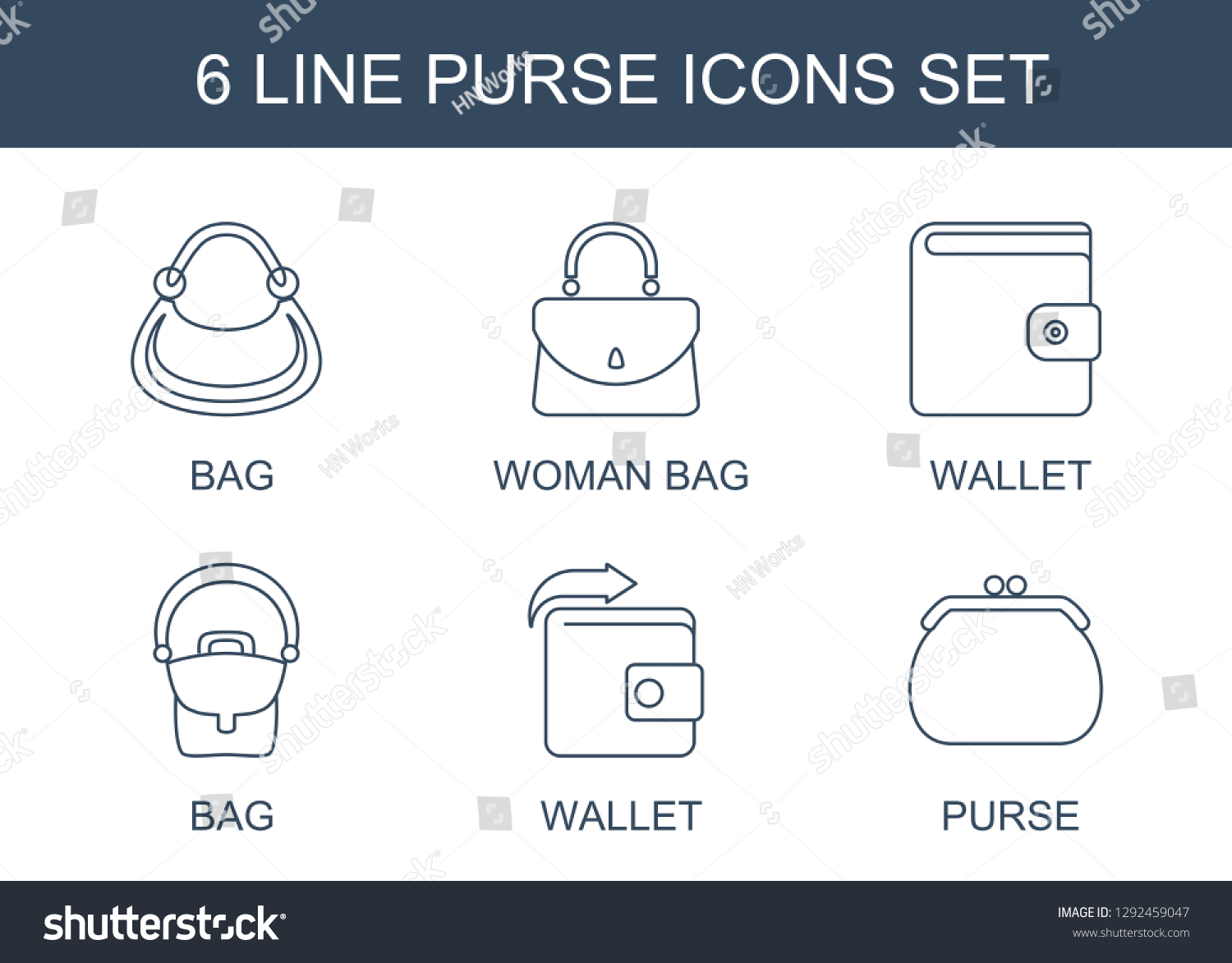 hight resolution of 6 purse icons trendy purse icons white background included line icons such as bag