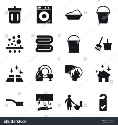 stock vector icon set bin washing machine washing bucket towel bucket and broom clean floor jpg [ 1500 x 1600 Pixel ]