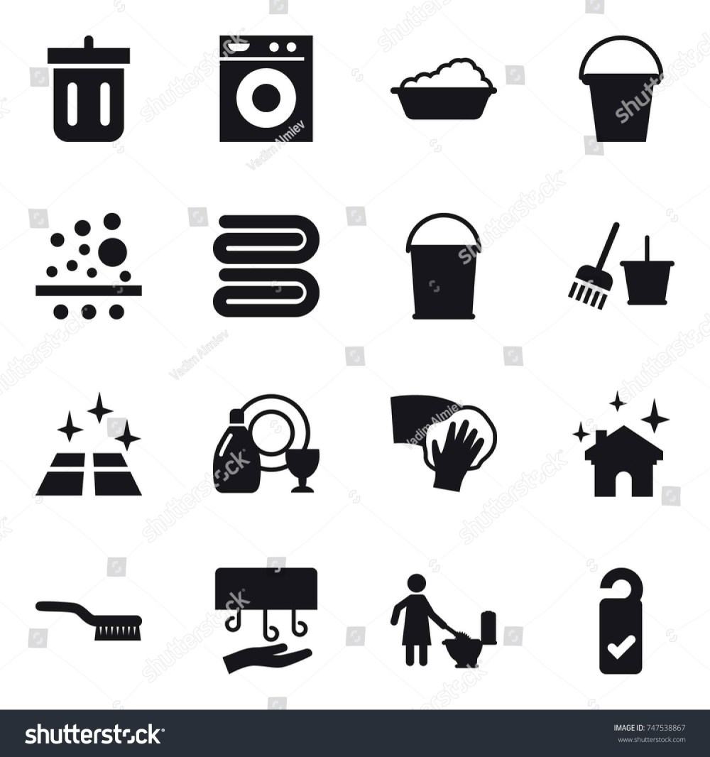 medium resolution of stock vector icon set bin washing machine washing bucket towel bucket and broom clean floor jpg