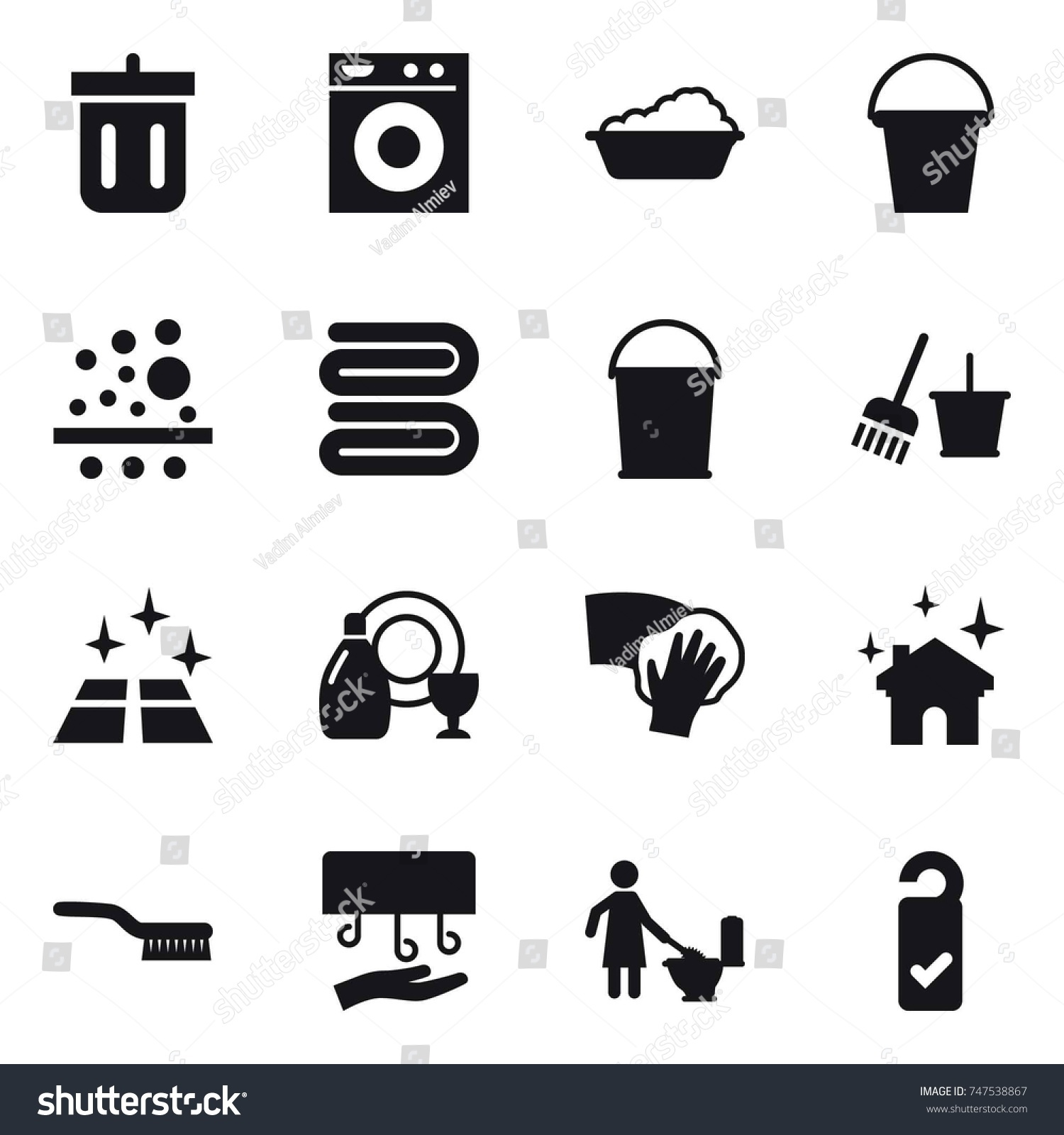 hight resolution of stock vector icon set bin washing machine washing bucket towel bucket and broom clean floor jpg