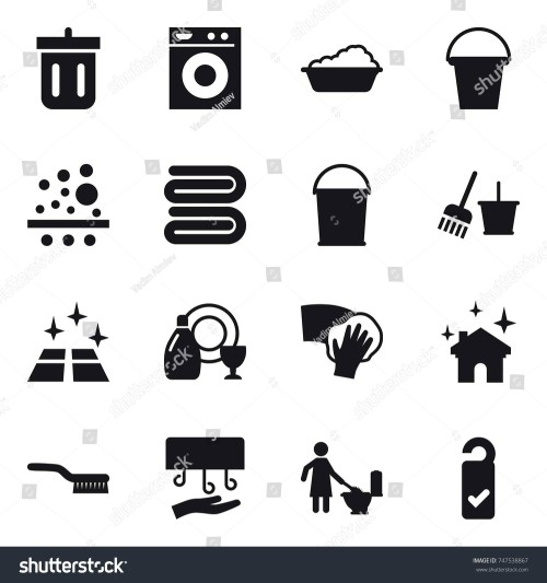 small resolution of stock vector icon set bin washing machine washing bucket towel bucket and broom clean floor jpg