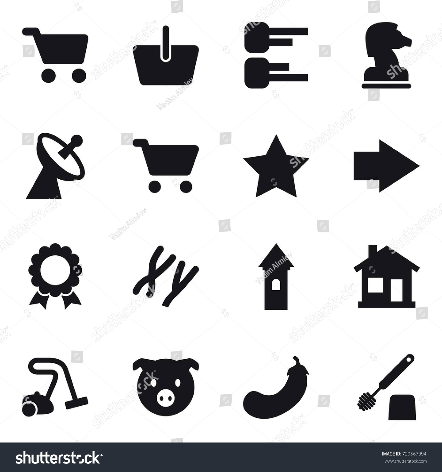 hight resolution of 16 vector icon set cart basket diagram chess horse satellite antenna