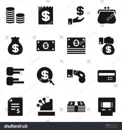 16 vector icon set coin stack receipt investment purse money bag money money gift diagram dollar arrow hand coin credit card account balance  [ 1500 x 1600 Pixel ]