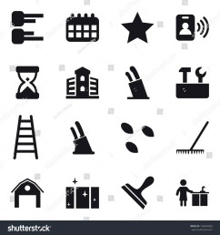 16 vector icon set diagram calendar star pass card building stands for knives repair tools stairs knife holder seeds rake barn clean window  [ 1500 x 1600 Pixel ]
