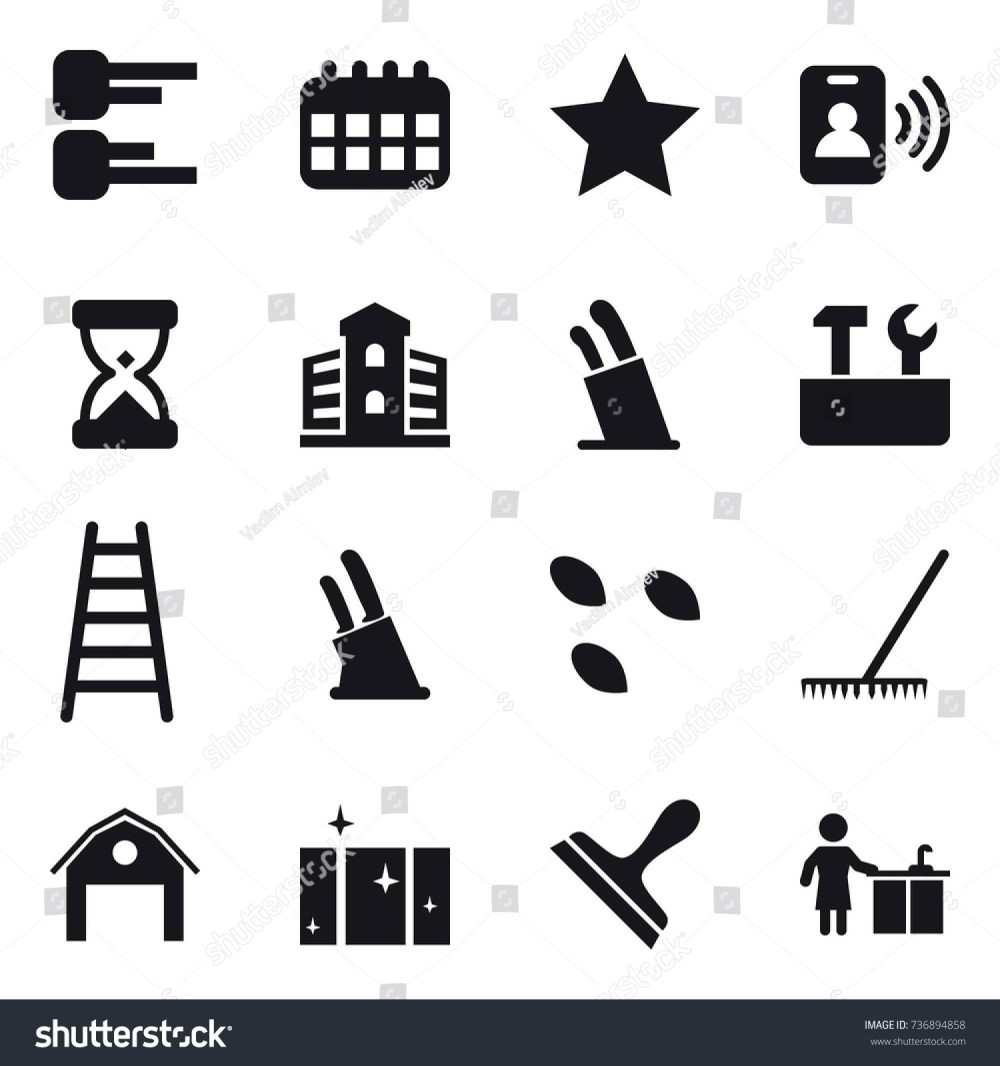 medium resolution of 16 vector icon set diagram calendar star pass card building stands for knives repair tools stairs knife holder seeds rake barn clean window