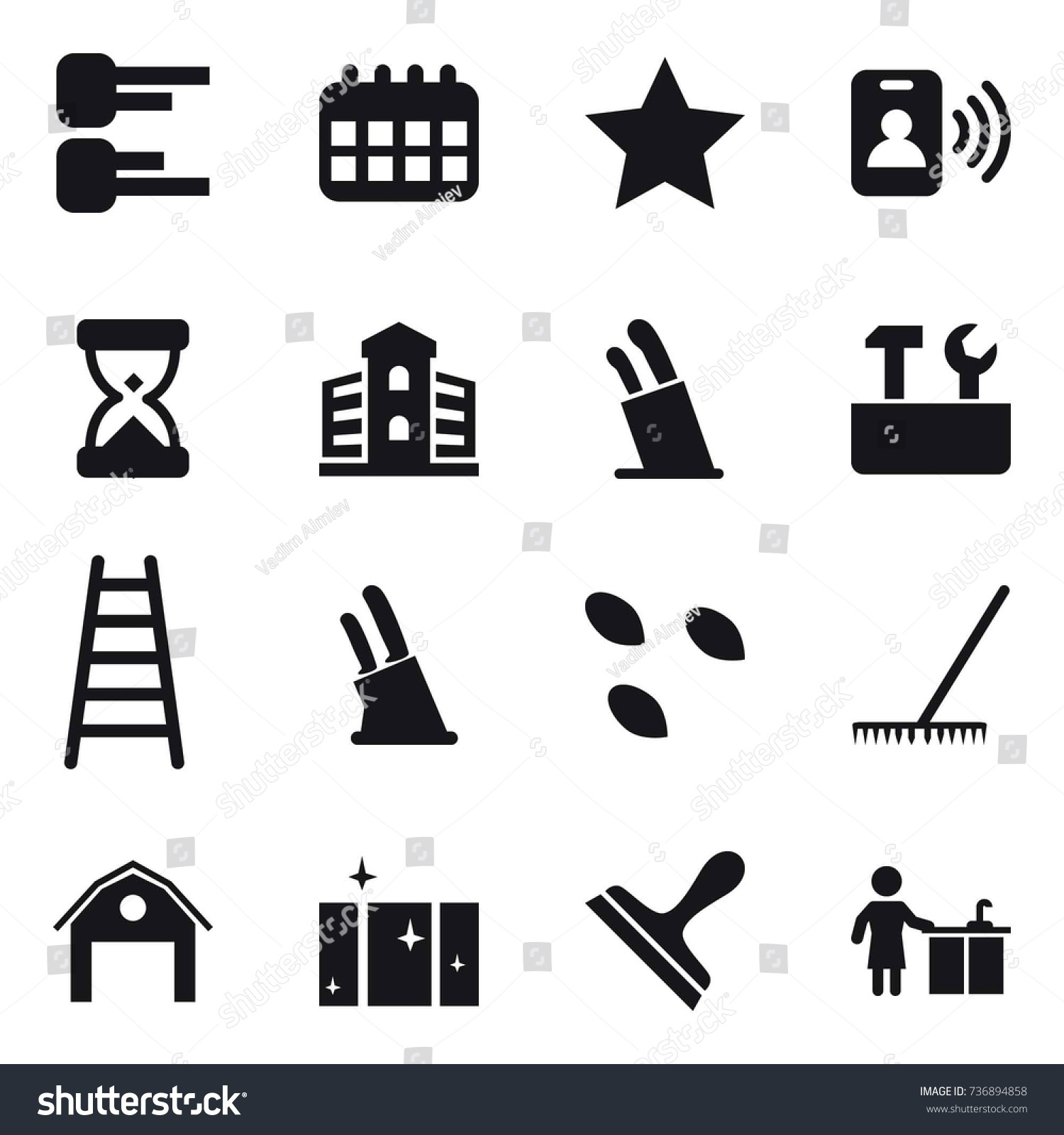 hight resolution of 16 vector icon set diagram calendar star pass card building stands for knives repair tools stairs knife holder seeds rake barn clean window