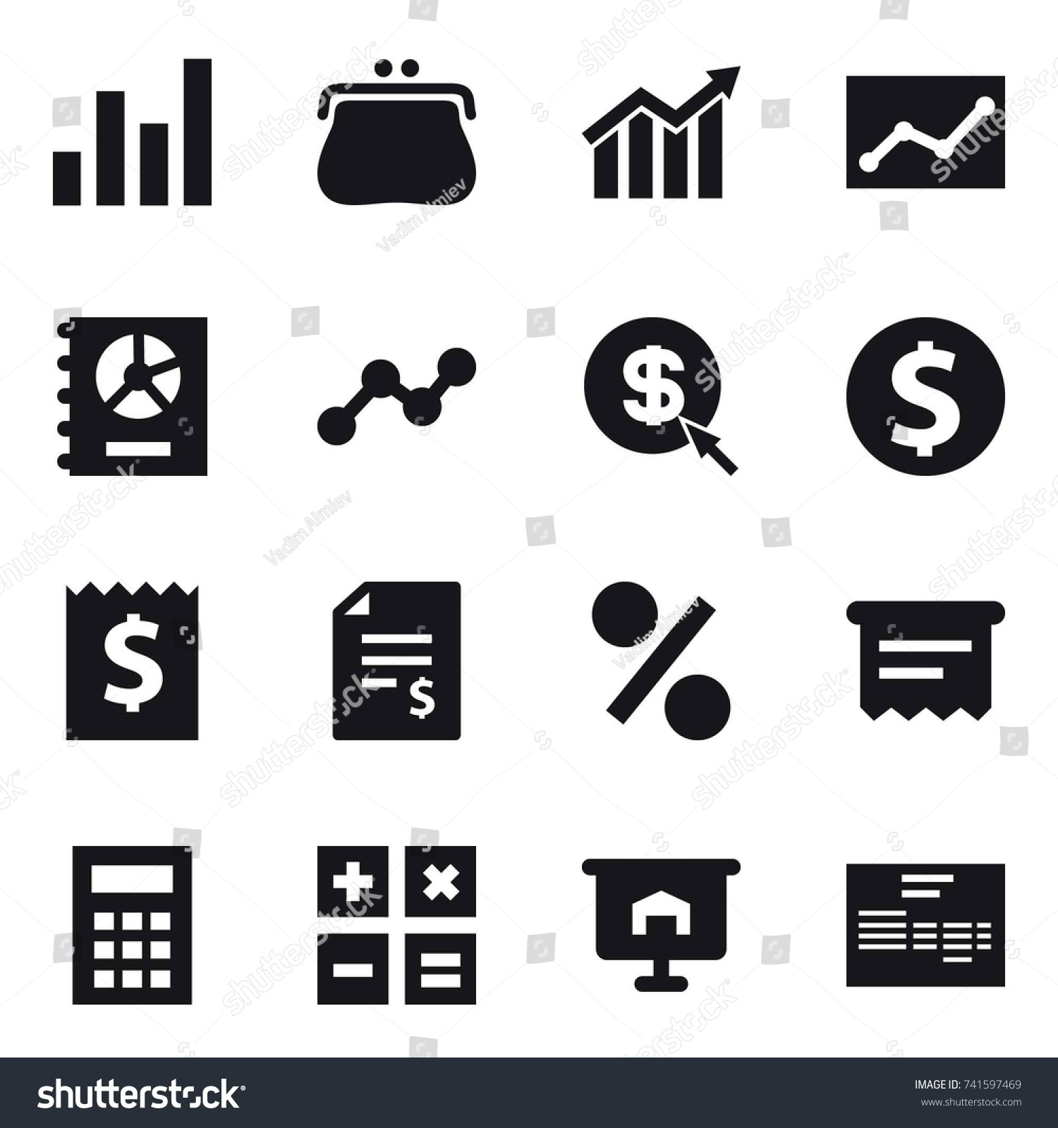 hight resolution of 16 vector icon set graph purse diagram statistic annual report