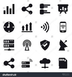 16 vector icon set graph share diagram presentation clock graph [ 1500 x 1600 Pixel ]
