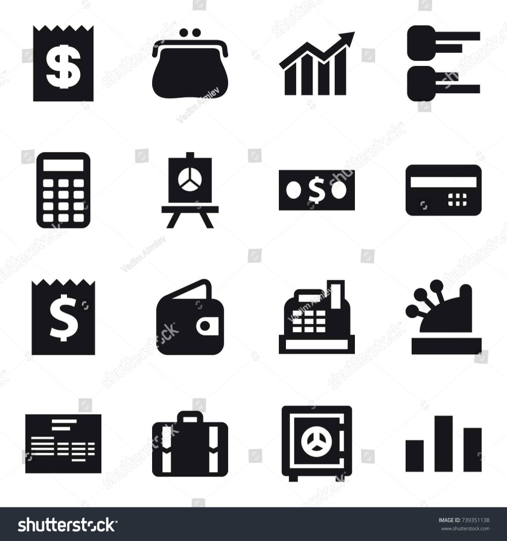 medium resolution of 16 vector icon set receipt purse diagram calculator presentation money