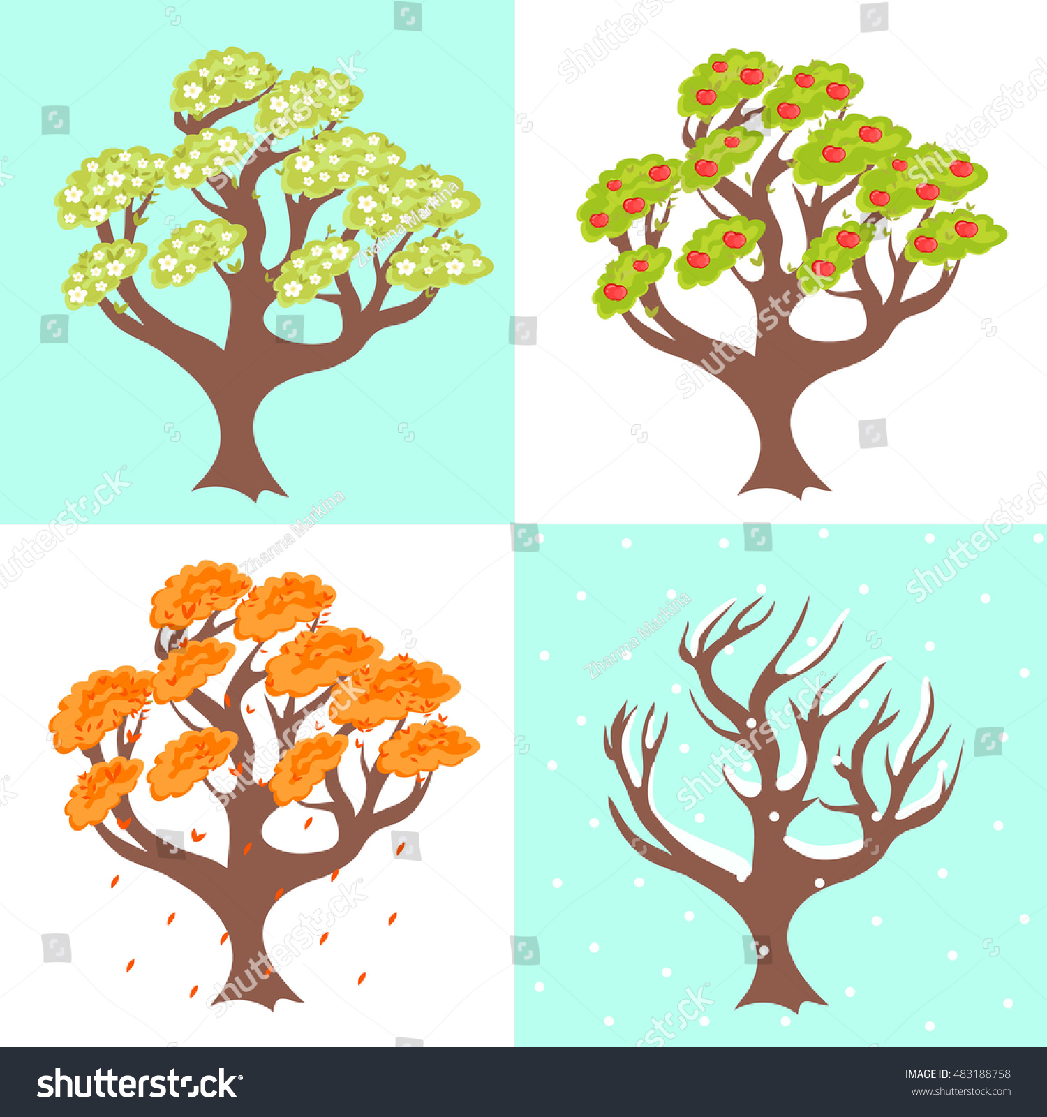 Vector Image Seasons Apple Tree Four Stock Vector