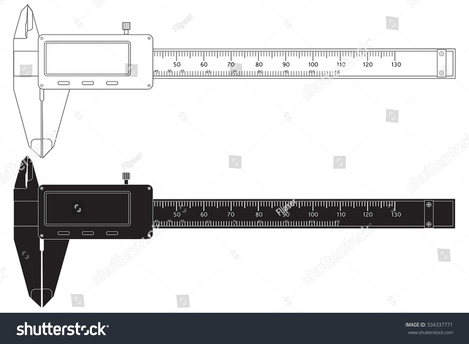 hight resolution of vernier caliper digital electronic tool vector isolated on white background