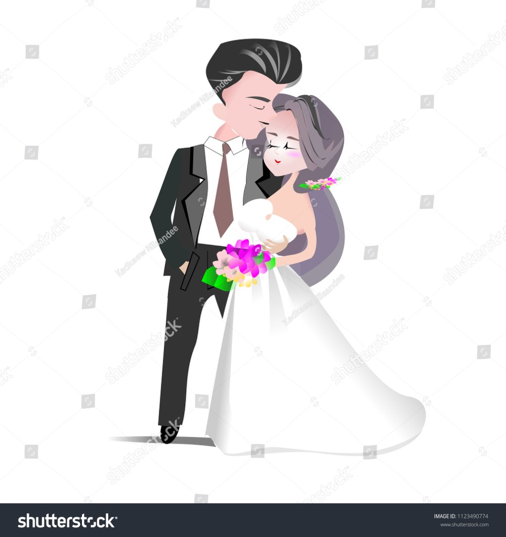 medium resolution of wedding clipart vector illustration groom and bride cartoon character man in back suit and woman in white bridal gown for invitation card template