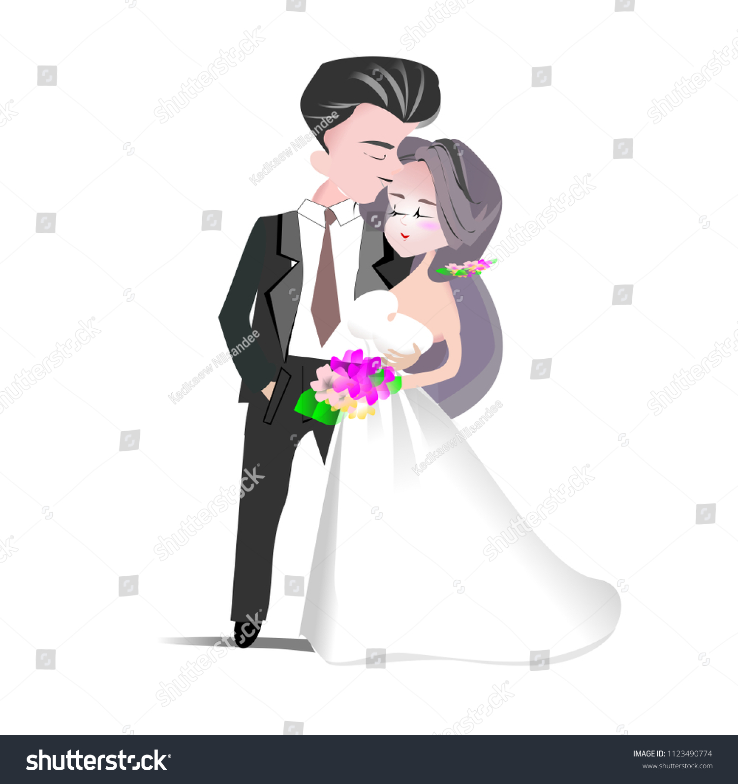 hight resolution of wedding clipart vector illustration groom and bride cartoon character man in back suit and woman in white bridal gown for invitation card template